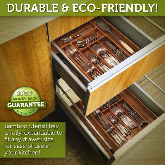 Wood tray dividers can be configured to accommodate all of your utensils, flatware & silverware. #baboonbamboo