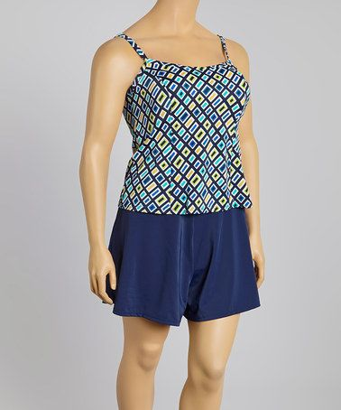 Love this Navy Jolt Tankini & Skirted Bikini Bottoms - Plus by Fit 4 U on #zulily! #zulilyfinds