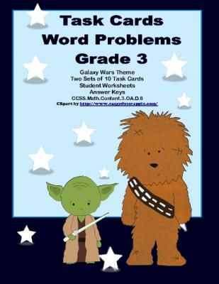 Task Cards Word Problems Grade 3 Common Core Galaxy Wars Theme from Mrs. Mc's Shop on TeachersNotebook.com -  (13 pages)  - If you're looking for practice in word problems, this is the product for you. This collection of 20 task cards has multistep word problems and lots of challenges to make your students think.  Addresse