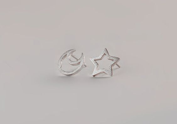 Handmade Silver Moon and Star Earring, 925 Silver Moon&Star Ear Studs, Birthday, Teenage, Valentine, Wedding, Anniversary Gift