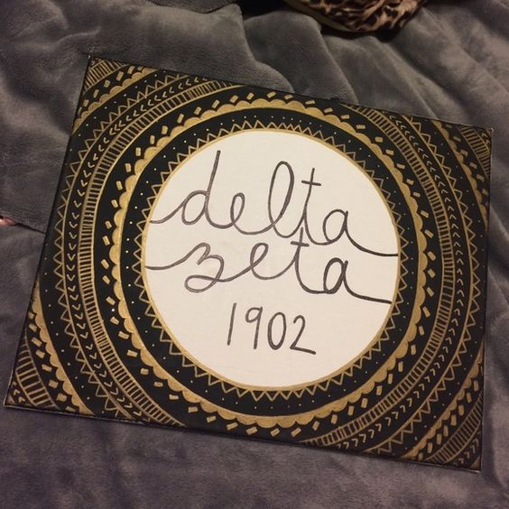 Delta zeta canvas Gold and black Other