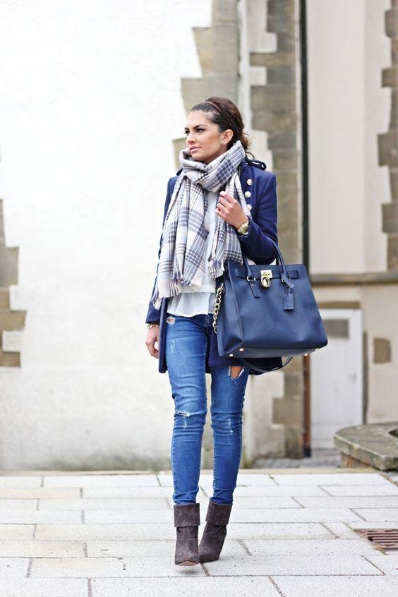 military coat, Aquazzura boots, Michaela Kors bag