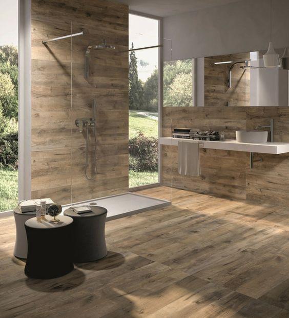 badezimmer begehbare duschkabine luxus keramikfliesen holzoptik dakota von flavikeris das ist