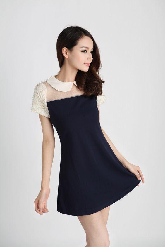 Short, Puff Sleeve, Mini Dress, White Collar, YRB0288, Chiffon, Knitted, Mesh, YRB, YRBfashion,