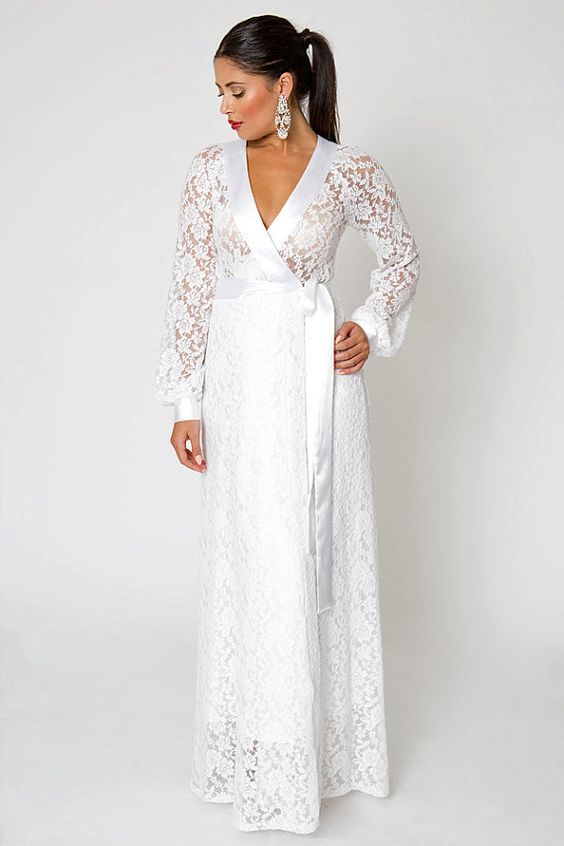 White Ivory Simple Lace Wedding Gown Wrap Dress Open