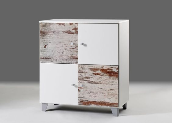 Kommode Zilo 4 Weiß Eiche Antik 7512. Buy now at https://www.moebel-wohnbar.de/kommode-zilo-4-sideboard-mit-4-tueren-weiss-mit-eiche-antik-7512.html
