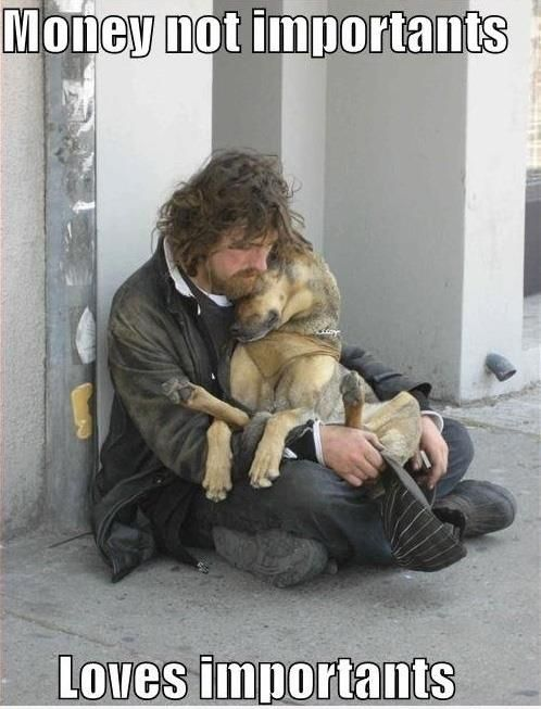 This is adorable and sad. Many homeless and struggling individuals feed their animal companions before themselves.: