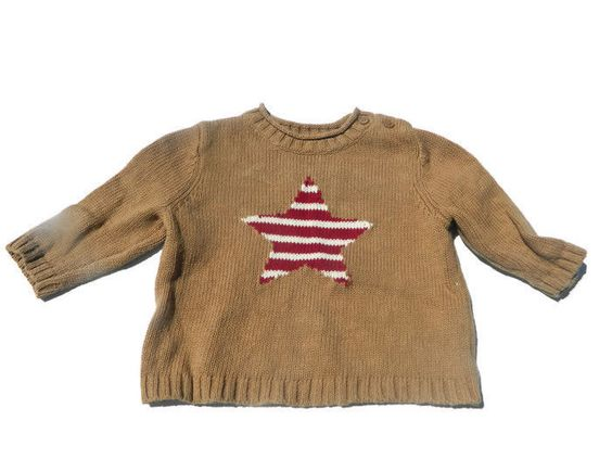 Baby Gap Baby Girl 3-6 Sweater Star Stripe Pullover Brown  #babyGap #Pullover…
