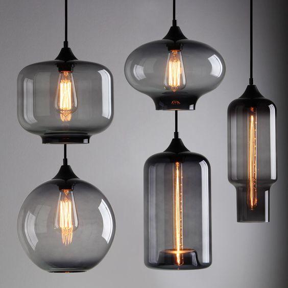 MODERN INDUSTRIAL SMOKY GREY GLASS SHADE LOFT CAFE PENDANT LIGHT CEILING LAMP