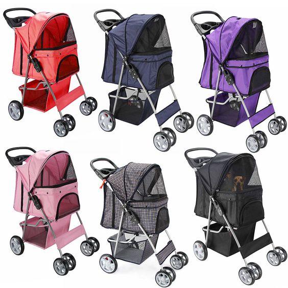 Oxgord Pet Stroller Cat Dog 4 Wheeler Easy Walk Stroller Travel Folding Carrier…
