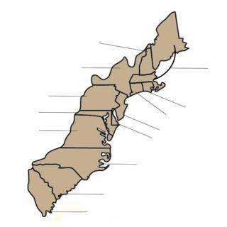 Labeling Original Colonies Map Homeschoolhistory Homeschool - Us territory map the original 13 colonies