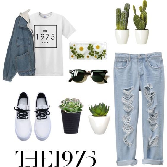 The 1975- Girls by apaleghost on Polyvore featuring polyvore, moda, style, Pomax, Ray-Ban, Girls, clothes, plants, pastels and the1975