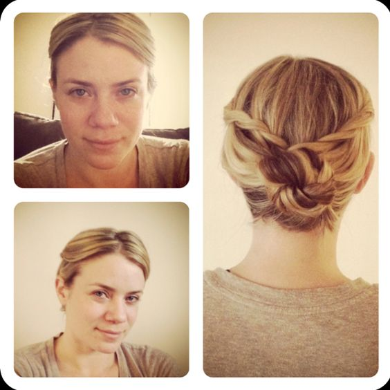 Waterfall braid each side, French braid a few rows and twist into bun. Secure with spin pins and rough it up a bit. I took this pict before roughing it up so the rest is more clear.: Easy Hairstyles, Beauty Hair, Hair Styles, Hairstyle Ideas, Waterfall Braids