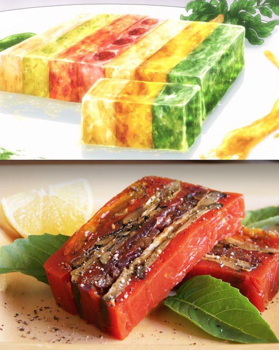 Rainbow terrine anime food pinterest sauces for Tomato terrine