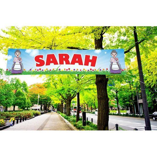 Sarah PVC spandoek voor buiten gebruik. Formaat:200 x 50 cm. Aan de zijkant heeft het spandoek ophangogen. Goede kwaliteit PVC spandoek waardoor het regenbestendig is, perfect voor in de tuin.