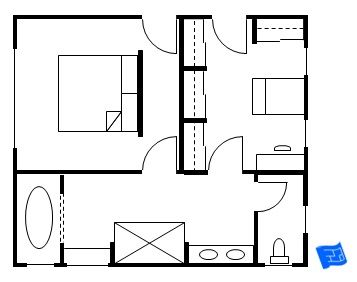 Master bedroom floor plan with entrance into the bedroom and the closet each with an entry into Entrance to master bedroom
