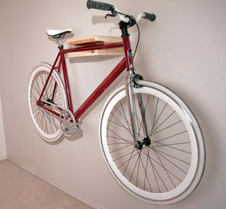 Birch & Cedar Bike Rack by Elevate Woodworks. Love this! what a great space saver and looks fun too!