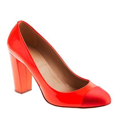 Etta cap toe patent pumps