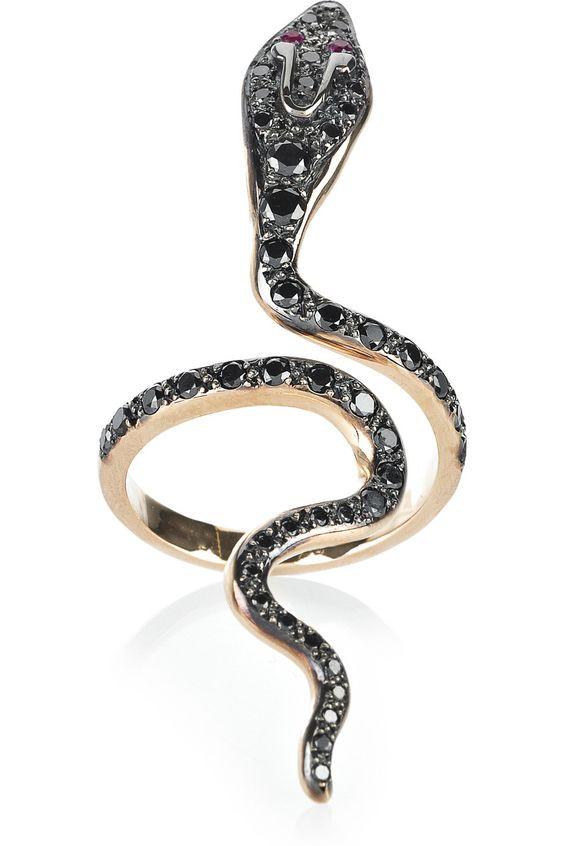 ileana makri cobra 18K rose gold diamond ring