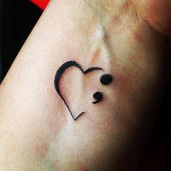 30 Inspirational Semicolon Tattoo Designs | Semicolon ...