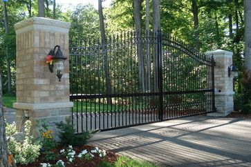 Driveway gate gates and arbor gate on pinterest for Driveway gates online