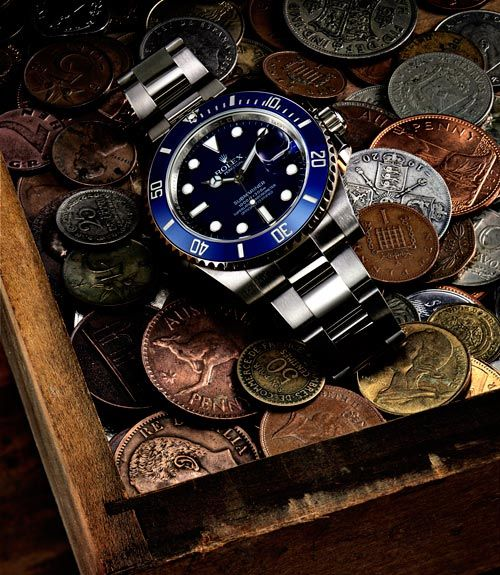 White Gold Blue On Blue. Can also customize a Stainless Steel with a refinished Dial and Bezel  Retail $36,850 we sell for $29,850 http://www.aandewatches.com/mens-used-rolex-watches-sports-models/preowned-and-used-rolex-submariner-watches-for-sale/rolex-submariner-rmsub34.html Pre-owned Stainless Sub Custom blue for $5650.00 http://www.aandewatches.com/mens-used-rolex-watches-sports-models/preowned-and-used-rolex-submariner-watches-for-sale/rolex-submariner-rmsub04.html