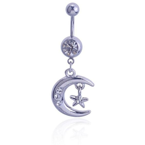 BeOne Stunning Moon Star Rhinestone Crystal Dangle Ball Button Barbell... ($7.94) ❤ liked on Polyvore featuring jewelry, piercings, belly button rings jewelry, crystal jewelry, belly rings jewelry, dangling jewelry and rhinestone jewelry