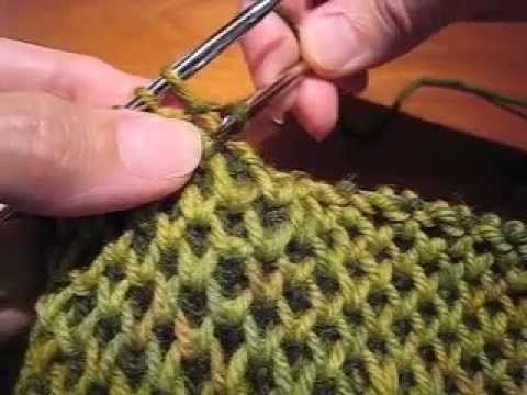 Demonstration of how to work honeycomb brioche stitch using the knit one belo...