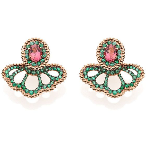 Women's Yellow Gold Earring by Carla Amorim revoada emeralds and pink... (7,660 CAD) ❤ liked on Polyvore featuring jewelry, earrings, carla amorim, pink tourmaline earrings, gold emerald earrings, gold jewellery and emerald jewellery