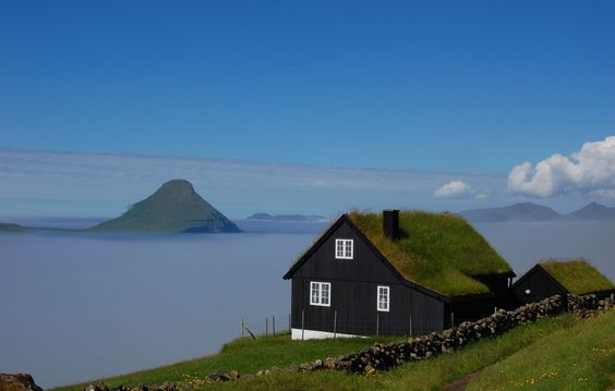 grass roof house faroe islands, green homes