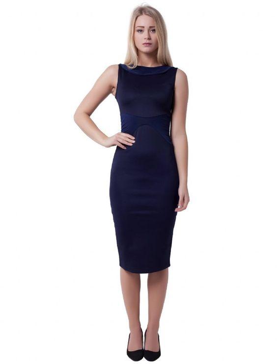 Vestido tubo azul marino Navy midi tube dress