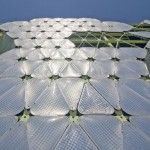 Building stays cool during the warm summer months when gas fills the ETFE plastic cushions that cover its exterior. www.greenzu.com