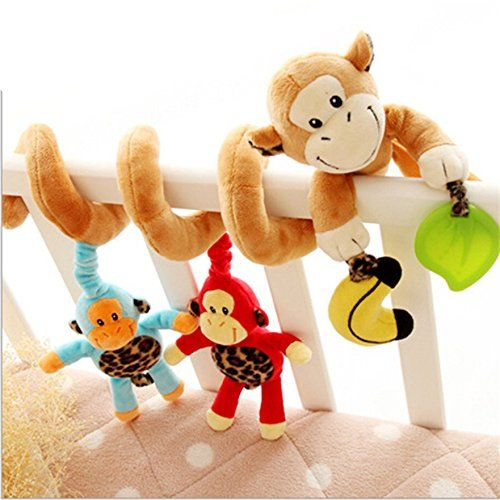 Adorable Monkey Jungle Animals Bell Baby Music Bed Hanging Cribs Toy-Baby Children Twisty Curly Pram Pushchairs Car Seat Cot Toy-Musical Bed Cartoon Gift Toys Perfect For Sensory Development