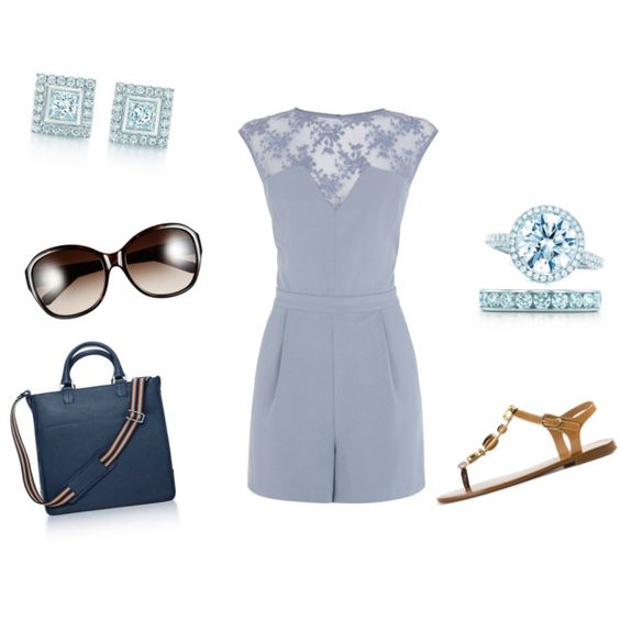 A fashion look from April 2014 featuring Warehouse rompers, Dolce&Gabbana sandals and Tiffany & Co. earrings. Browse and shop related looks.