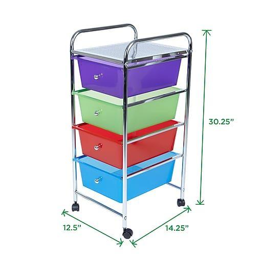 Mind Reader 4 Drawer Storage Trolly Multi Colors 4dptroll Asst At Staples Storage Drawers Storage Cart Slim Kitchen Storage