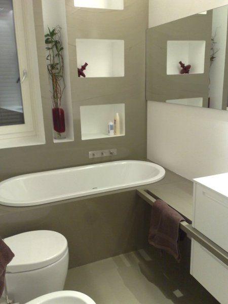 Rivestimento bagno pavimento parete e piano in resina spatolato ...
