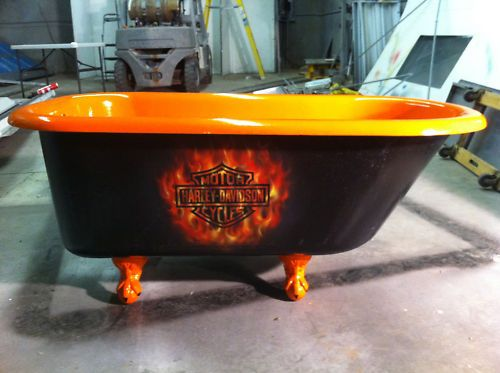 this would be cool if w actually added a tub to the downstairs bathroom  middot  Harley Davidson. Harley Davidson Clawfoot Bathtub Claw Tub Clawfoot tub   Be cool