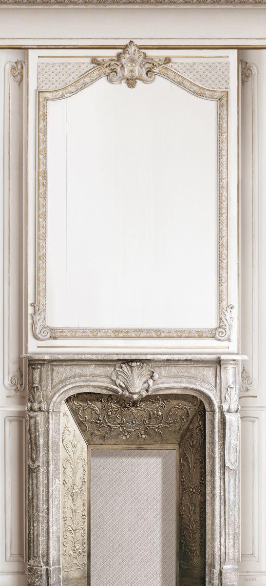 French trompe l 39 oeil wallpaper by christophe koziel fireplace woodwork koziel wallpaper - Wallpaper trompe houtlook ...