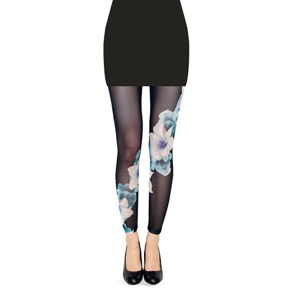 Floral Mesh Legging Black