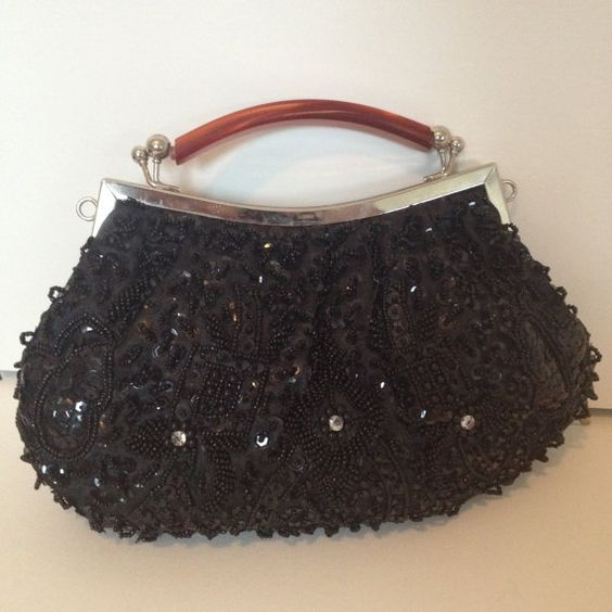 Vintage Inspired BLACK Beaded and Sequined Evening by nancyvsyou