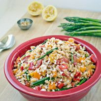 Roasted Vegetable Orzo Pasta Salad is loaded with delicious flavors from peppers, asparagus, crunchy pine nuts, and tangy feta cheese. Ideal for summertime!