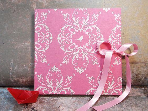 Gästebuch, Hochzeitsgästebuch, personalisierbares Gästebuch, pink Gästebuch,Taufe, Hochzeit, Rosa, Ornamente mit Schleife