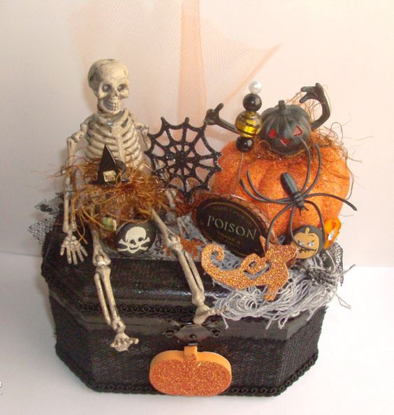 Skeleton Spooky Halloween Pumpkin Mixed Media Altered Art Decor Gift Wood Box