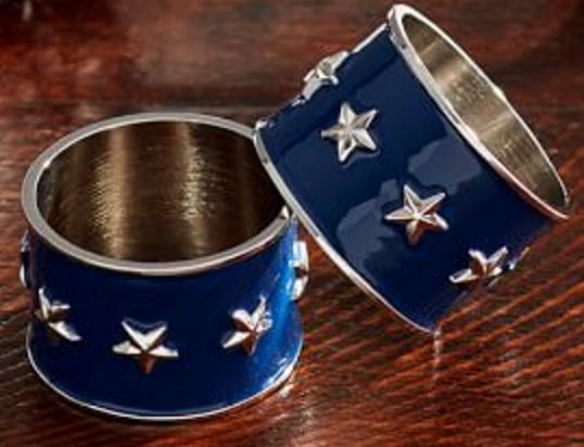 Enamel Star Spangled Napkin Rings