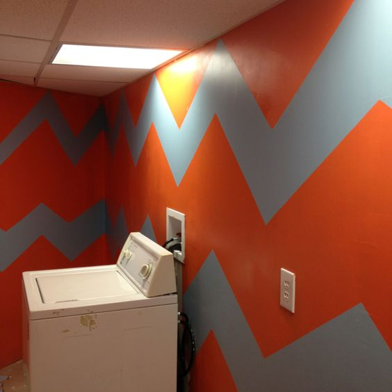 Messy chevrons in our laundry room