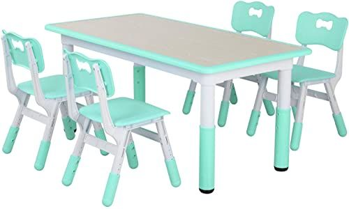 New Lazy Buddy Kids Study Table Chairs Set Height Adjustable Plastic Children Art Desk 4 Seats Activity Toddler Furniture Gift Boys Girls Paintable Deskt In 2020 Kids Study Table Study Table
