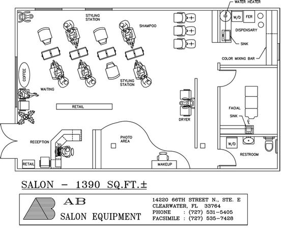 Beauty salon design plans view source more sq ft for Ab salon equipment