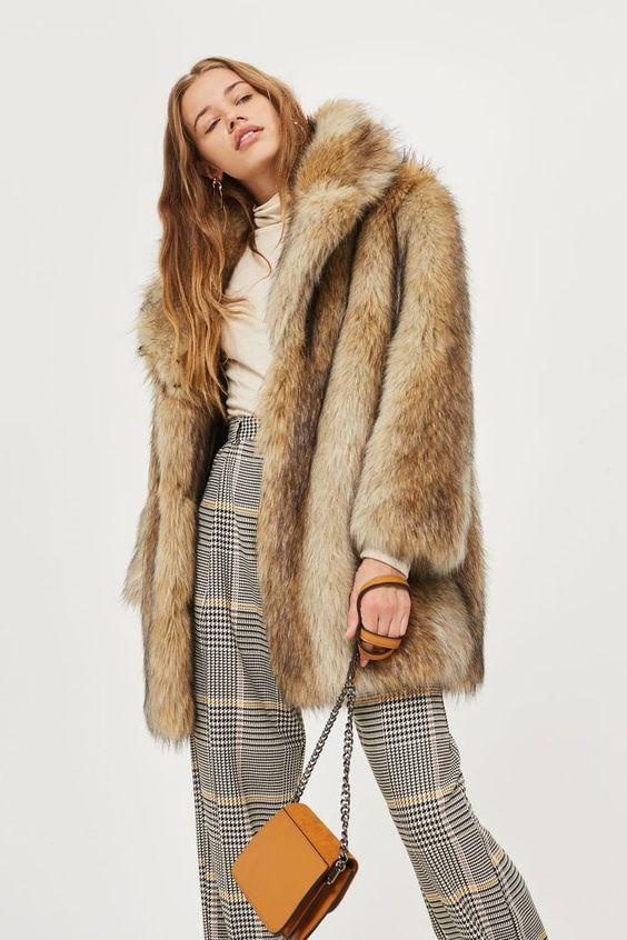 manteau fausse fourrure vintage marron beige topshop