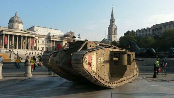 Celebrating 100 years of Tanks, on Trafalgar Square in London