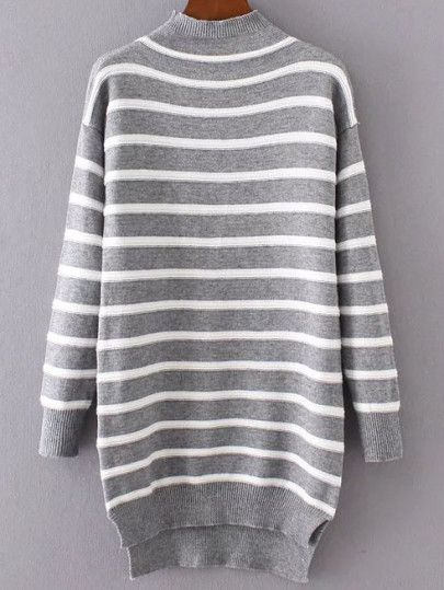 Grey Striped Mock Neck High Low Sweater Dress